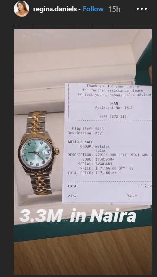 1 67 - [Photos]: Regina Daniels acquires N3.3million Rolex wristwatch