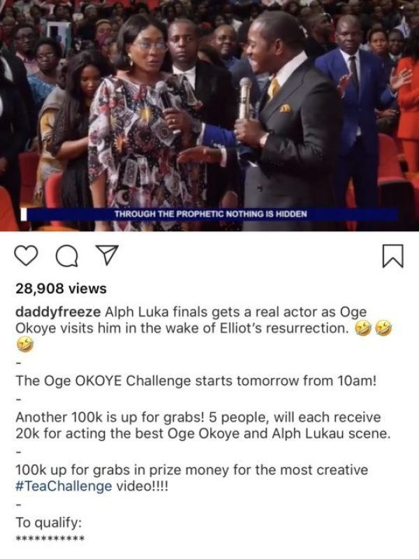 Daddy Freeze Mocks Oge Okoye For Visiting Pastor Luka For Deliverance