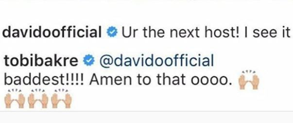 5c8f8aab4c48f - 'You are the next host of BBNaija' – Davido to Tobi Bakre