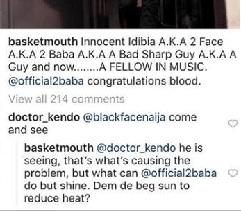 Basketmouth shades Blackface