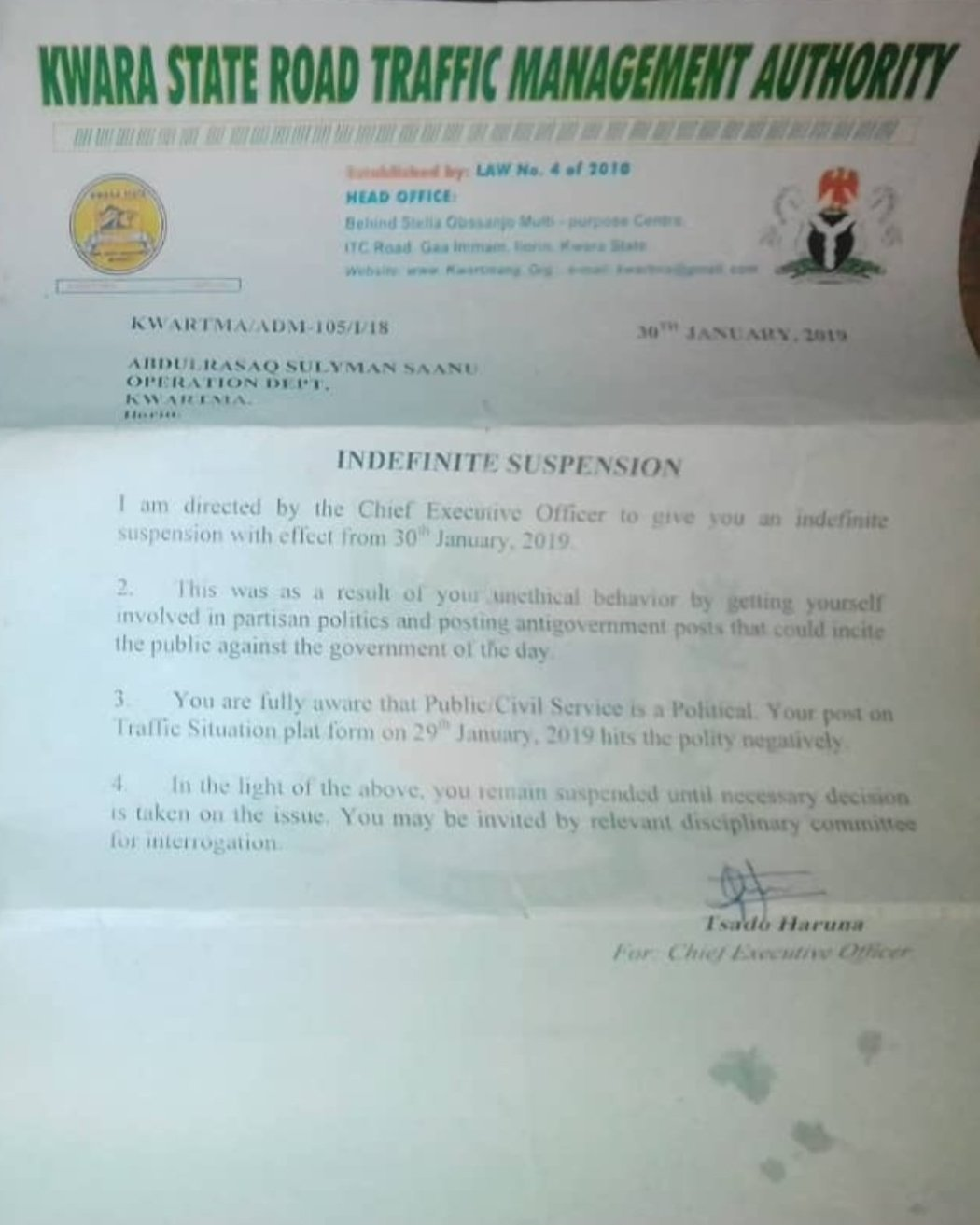 D0peIdwXcAAXK4x - Man Sacked By Kwara State Government For Involving in Politics [See Pictures]