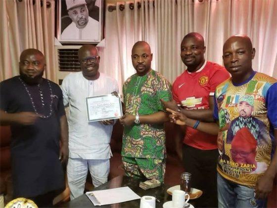 MC Oluomo 2 560x421 - APC lawmaker presents certificate of return to MC Oluomo [See pictures]