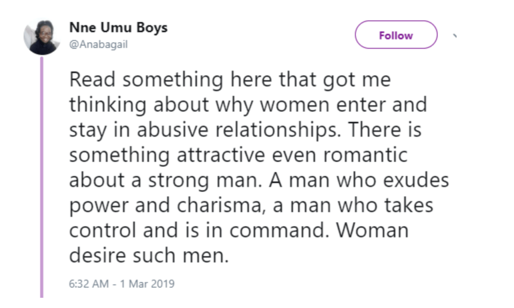 Screen Shot 2019 03 02 at 5.37.35 PM - A woman will be with an abusive man than a wimp – Nigerian writer