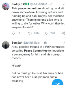Screenshot 20190301 1743072 - 'Why Won't They Allow Lawyers Shine' – Nigerians React To Peace Committee Meeting With Buhari