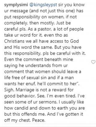 Screenshot 20190318 090925 311x410 - Simi Tackles Pastor Kingsley Okonkwo On Social Media