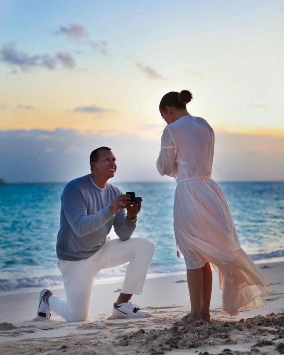Jennifer lopez and alex rodriguez engagement on the beachside