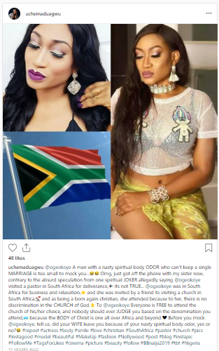 """princes - """"A man who can't keep a single Marriage is too small to mock you""""- Actor Slams Daddy Freeze For Criticizing Oge Okoye South Africa Visit"""