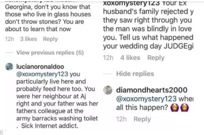 2 37 - 'You are a frustrated Nigerian' – Georgina Onuoha drags troll who called her father a drunk