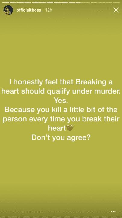 53A3FE69 5A54 4D1B A676 9AF417D77C2E - Support Or Against? Tboss Says Breaking A Heart Should Qualify As Murder