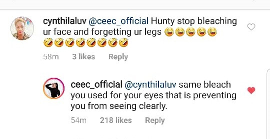 5ca50b0c34796 - Cee-C Slams Fan After She Accused Her Of Uneven Skin Bleaching