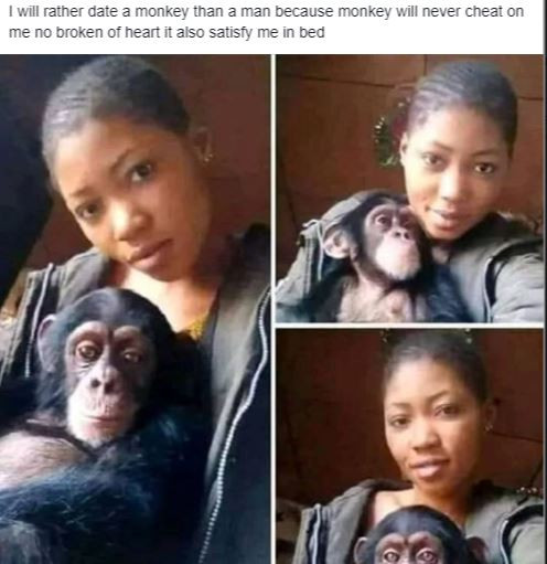 5ca6ee22b3722 1 - 'I will rather date a monkey than a man' – Young lady poses with her monkey lover