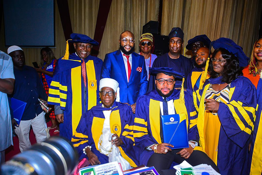 5ca8bc2f40746 - [Photos]: Five Star Music boss E-Money bags honorary Doctorate Degree