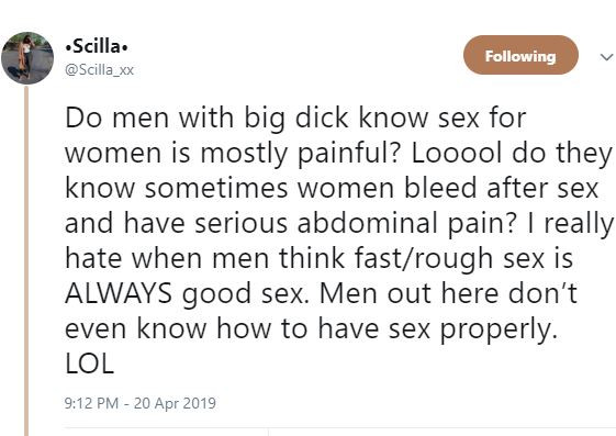 5cbca768cb268 - 'Rough and fast sex is not good sex' – Nigerian lady says