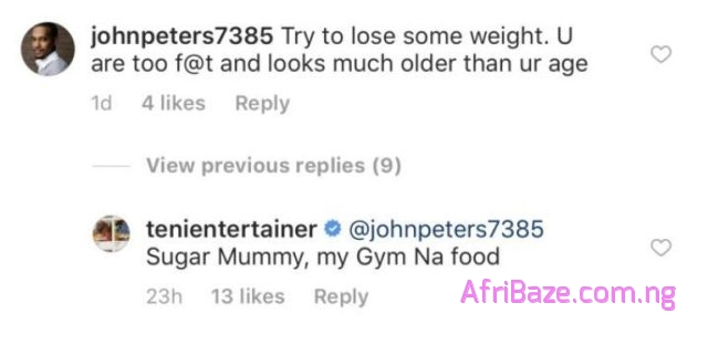 """7D3E4820 7D29 45F9 9F40 B2B049AD3DD2 - """"My Gym na food"""" – Teni responds to weight loss advice"""