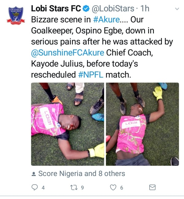 9164326 img20190411175618770 jpegfce6be47c0fb6d037fe67d0dc995dae6 - Football Coach Punches Opposition Goalkeeper During League Match [See pictures]
