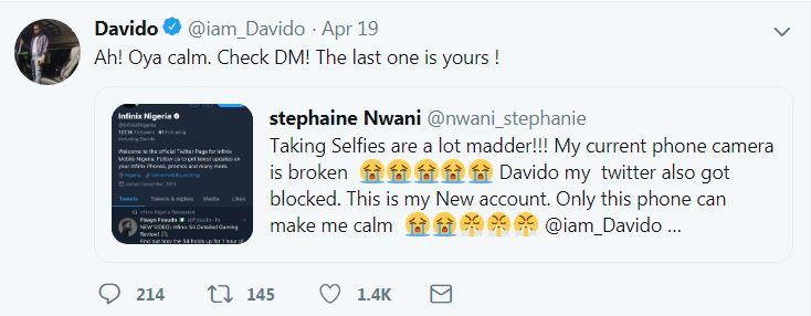 9238683 dav jpegc6b44eb816f80c4820670b686edeb3f3 - Davido Gifts Lady on Twitter New Infinix Phone