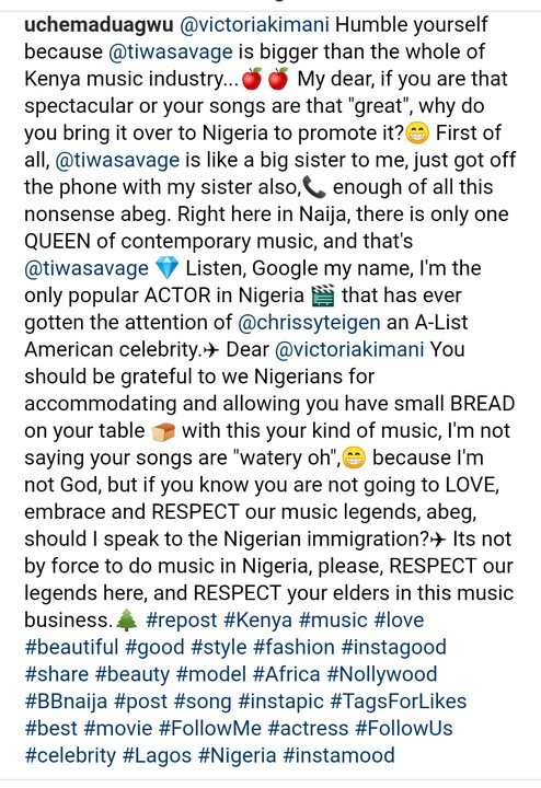 9277585 screenshot201904290433132 jpegf6fad2cb5a90cb386c20e4594ed951d5 - 'Don't Disrespect Tiwa Savage' – Actor, Uche Maduagwu Warns Victoria Kimani