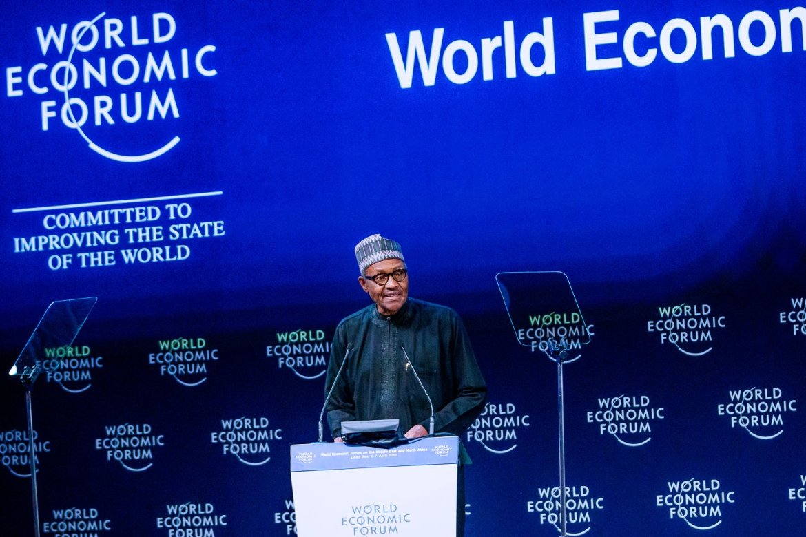 D3dsU0QX4AEofqy 1 - President Buhari delivers keynote speech at World Economic Forum [See pictures]