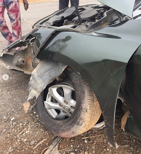 actress biola bayo involved accident 5 - Actress Biola Adebayo Survives Ghastly Car Accident
