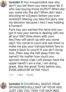 "dik - ""You Irresponsible Ape"" Tonto Dikeh Fires Another Heavy hot At Estranged Husband, Olakunle Churchill"