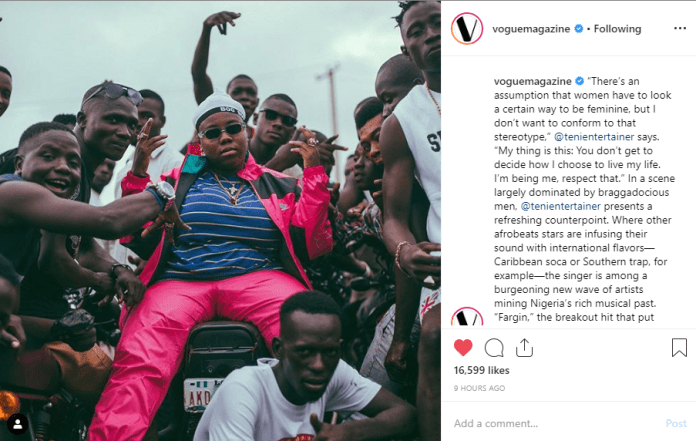 Vogue Magazine celebrates Nigerian singer Teni Entertainer