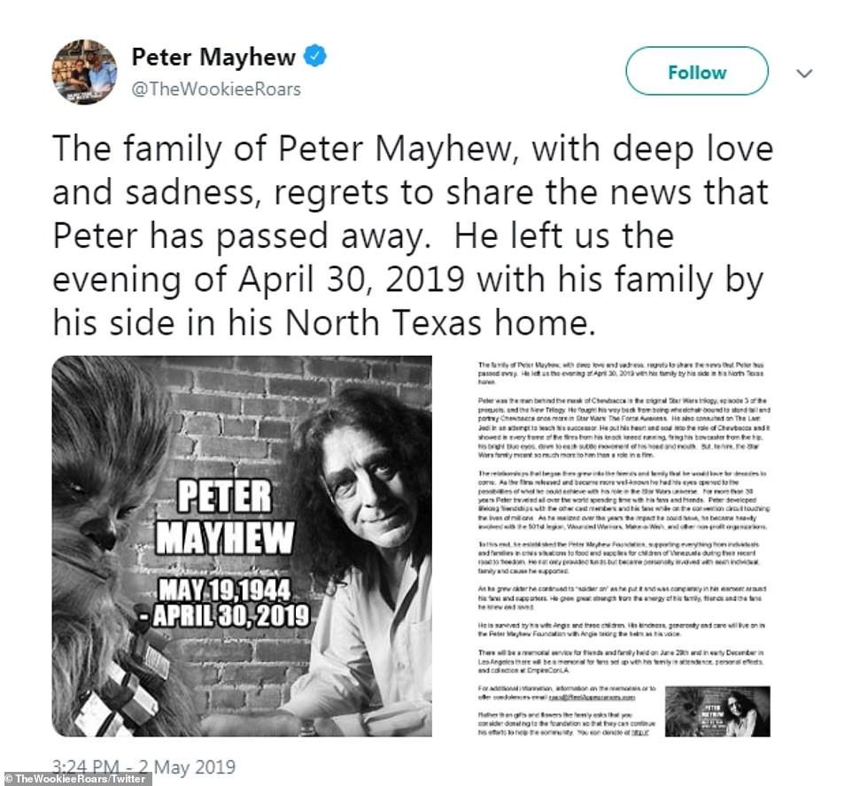 Star Wars actor Peter Mayhew is dead!
