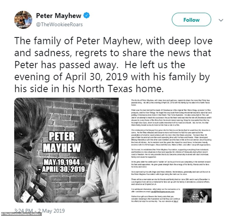 Star Wars actor Peter Mayhew is dead!