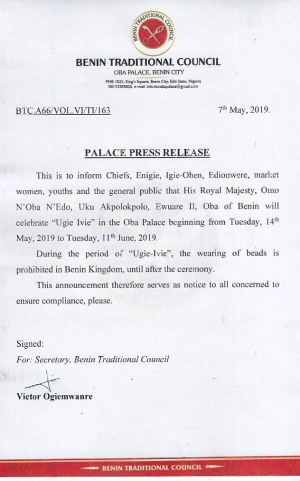 5cd3013f3f0c6 - 'No one is allowed to wear beads in my kingdom henceforth' – Oba of Benin
