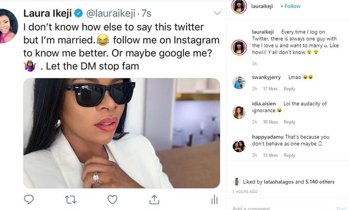 9319407 lauraikejisaystwitterusersarealwaystryingtoaskheroutevenwhenmarriedunclesuru1 jpegc7c65fe04e81bd598e38527105ab1b09 - 'I Am Married' – Laura Ikeji Informs Twitter User Asking Her Out