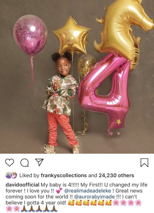 FA55FB27 1900 4D4E AC06 6687BCE82304 - 'You changed my life' – Davido celebrates the love of his life as she turns 4