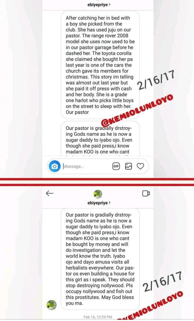 kemi olunloyo and iyabo ojo 1 - [Photos]: Kemi Olunloyo leaks private chats which showed Iyabo Ojo was dating Pastor Ibiyeomie