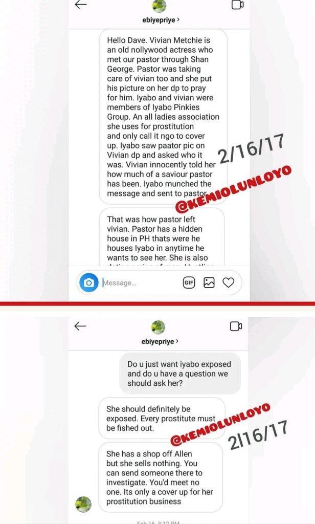 kemi olunloyo leaks iyabo ojo chat - [Photos]: Kemi Olunloyo leaks private chats which showed Iyabo Ojo was dating Pastor Ibiyeomie