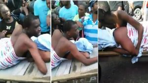 They were pushed along the street to the place where they could be separated. But, before that, a huge crowd had gathered to witness the disgraceful incident. The woman used a cloth to cover her face while being pushed. It is believed the husband of the woman must have used 'magun' an African concoction used by a man on his wife to catch her incase she's cheating on him.