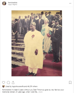 oted - Femi Otedola Celebrates Late Dad, Shares How He Helped Him Become Successful