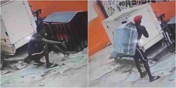x 1 - [Video]: Lol! Thief caught on CCTV stealing a huge generator