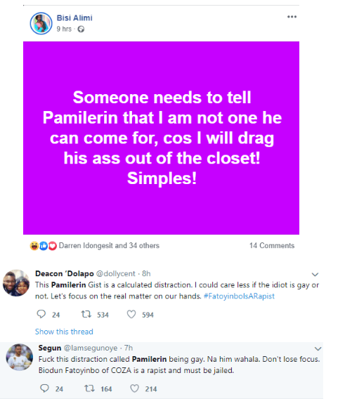 'I will drag your soul out of the closet' - Bisi Alimi comes for Pamilerin
