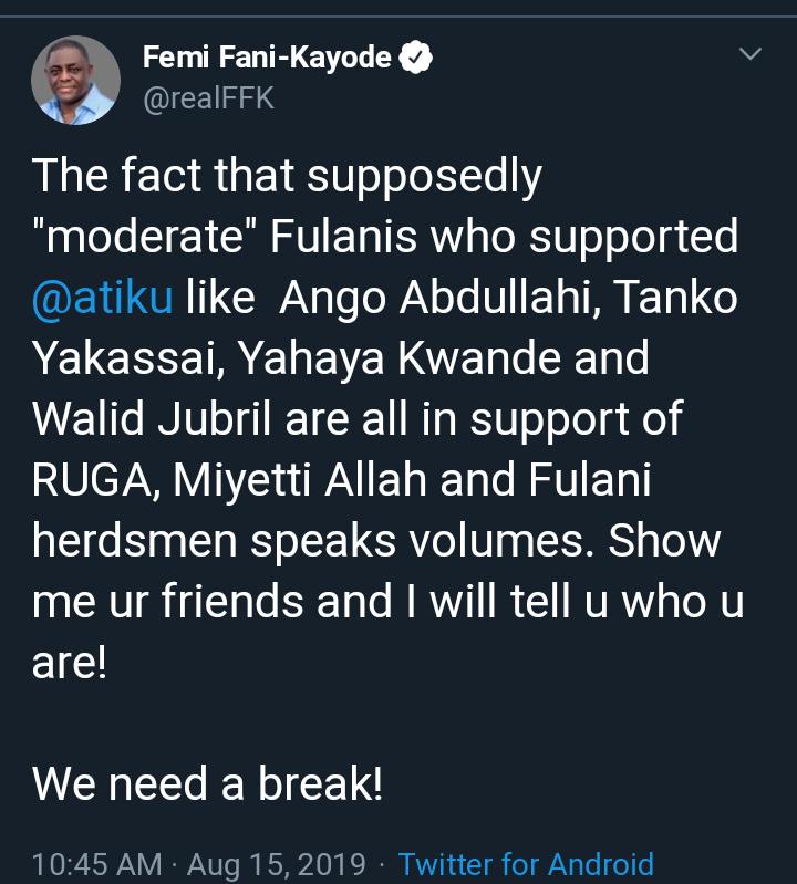 , Femi Fani-Kayode Slaps Atiku Over RUGA Settlement Crisis, All 9ja