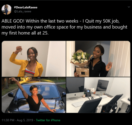 25-year-old lady buys house after quitting her job