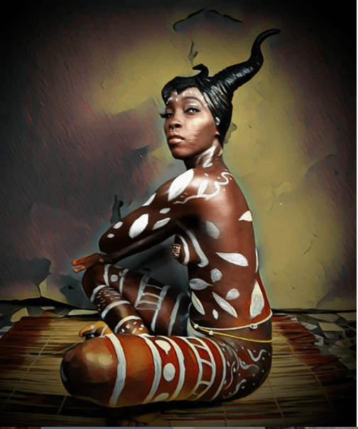 Nigerian model with tribal marks, Adetutu poses completely