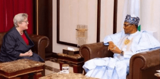 photo of Ms Mary Leonard and president Buhari