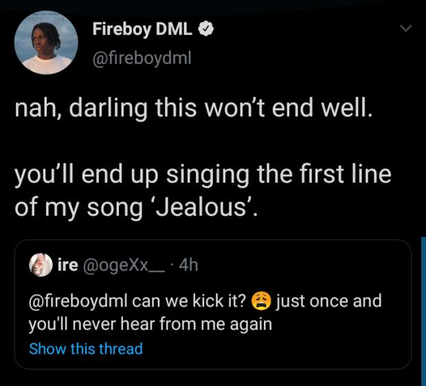 Fireboy DML's tweet