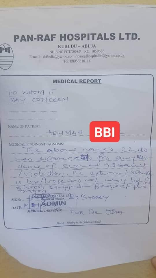 Medical report from an hospital