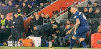 Jose Mourinho while spying at Southampton's tactic sheet