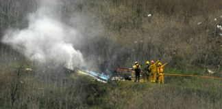 The scene of the helicopter crash