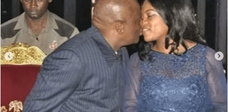 Rivers state governor, Nyesom Wike while kissing his wife in public