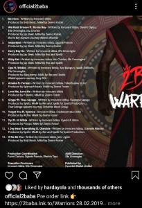 Screenshot 20200223 083443 Instagram - Wizkid, Burna Boy, Tiwa Savage, Olamide Feature On 2Baba's New Album