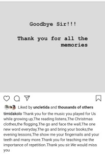 Screenshot 20200226 181845 Instagram - Singer Timi Dakolo Loses A Rare Gem