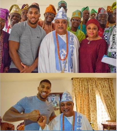 an 1 - Anthony Joshua Visits Sagamu, 'Chops Knuckle' With Ogun Monarch (Photos)