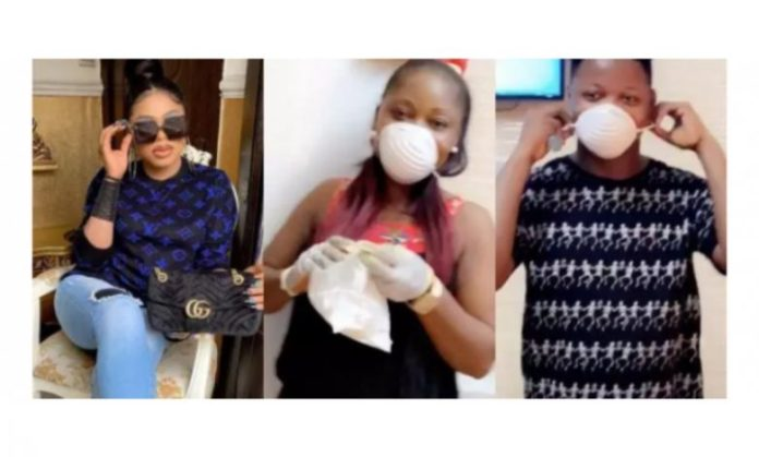 Bobrisky, his housemaid and hairstylist