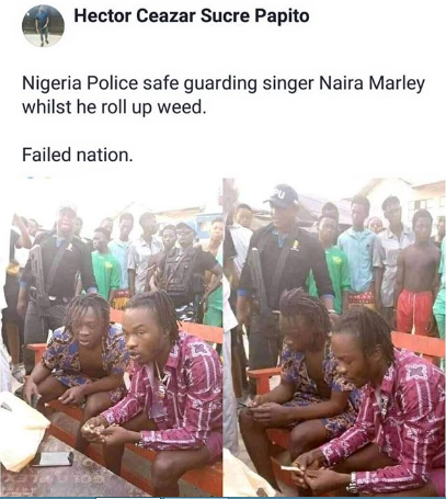 n 1 - Angry Nigerian Calls Out Police For Safeguarding Naira Marley As He Rolls Up His Weed (Photo)